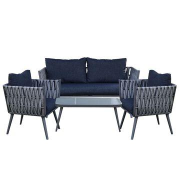 ALEKO RFSSGY Irvine Rattan Wicker 4-Piece Indoor/Outdoor Patio Conversation Sofa Furniture Set