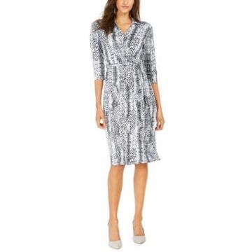 Ny Collection Petite Animal-Print Wrap Shirtdress