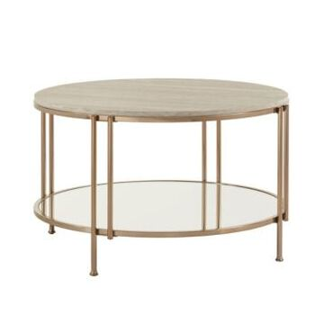 iNSPIRE Q Celsus Cocktail Table with Faux Marble Top and Mirror Bottom