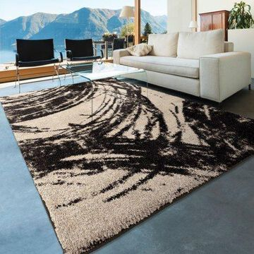 Orian Rugs Shag Abstract Sweeping Coal Ivory Area Rug