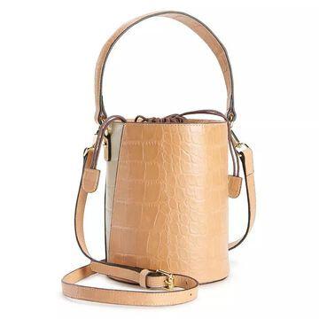 AmeriLeather Brenna Cylinder Handbag, Lt Brown