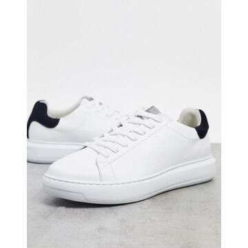 Selected Homme premium leather sneakers with chunky sole & contrast back tab-White