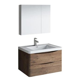 Fresca Tuscany 32-in Rosewood Single Sink Bathroom Vanity with White Acrylic Top (Faucet Included) in Pink | FVN9032RW