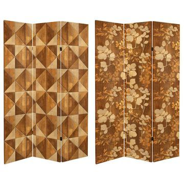 Oriental Furniture 3-Panel Printed Fabric Folding Rustic Style Room Divider in Brown | CAN-WOOD5