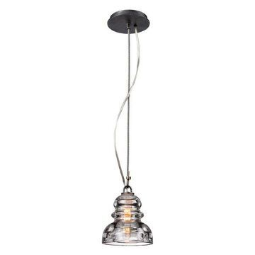 Menlo Park, Mini Pendant, Old Silver Finish, Historic Pressed Clear Glass