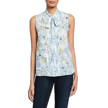 Floral-Print Pleated Chiffon Tie-Neck Blouse