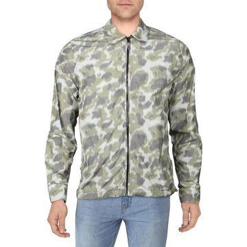 Aspesi Mens Shirt Jacket Camouflage Zip Front - Green Multi