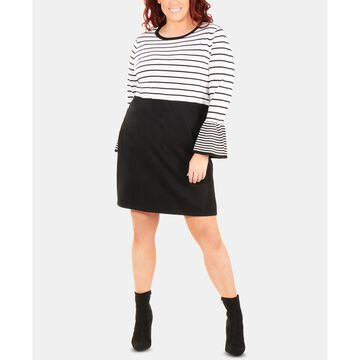 Plus Size Striped Bell-Sleeve Dress