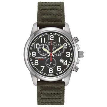 Men's Citizen Eco-Drive Military Chronograph Strap Watch with Black Dial (Model: AT0200-05E)