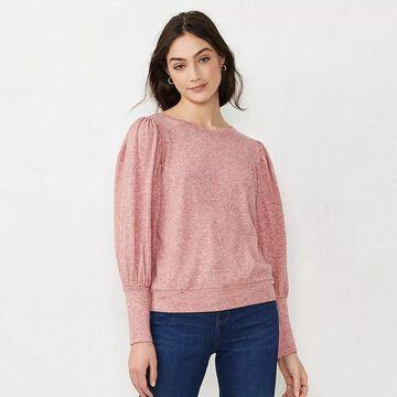 Women's LC Lauren Conrad Puff-Sleeve Sweatshirt, Size: Small, Med Red