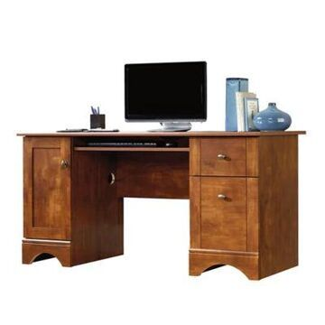 Sauder Select 2-Drawer Computer Desk in Brushed Metal