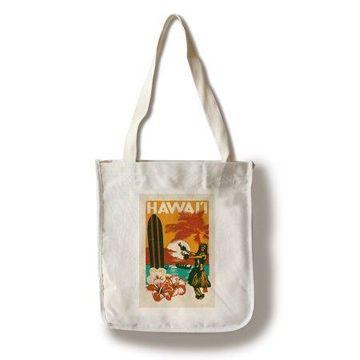 Hawai'i - Woodblock - Lantern Press Artwork (100% Cotton Tote Bag - Reusable)