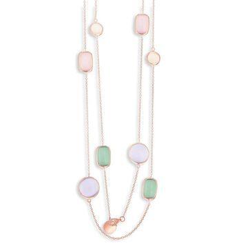 La Preciosa Sterling Silver Rose Gold, Sakura, King Green, Champagne and Violet Cat Eye 32'' Necklace