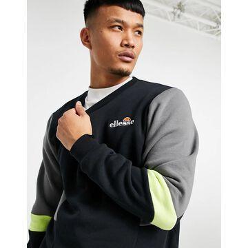ellesse Pineapples color block sweatshirt in black