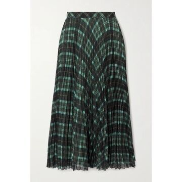Dries Van Noten - Pleated Checked Crepe Midi Skirt - Green