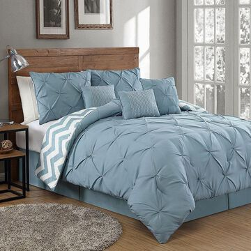 Avondale Manor Ella Pinch Pleat Comforter Set, Blue, Queen