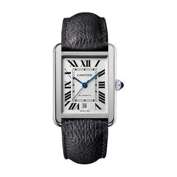 Cartier Men's WSTA0029 'Tank' Black Leather Watch