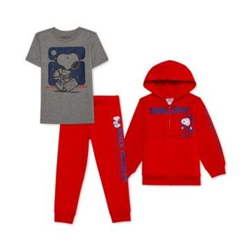 Peanuts Toddler Boys 3-Pc. Snoopy Hoodie, T-Shirt & Joggers Set
