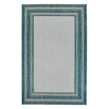Trans Ocean Carmel Multi Border 8425/94 Coastal Outdoor Rug, Teal, 4'1