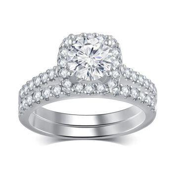 Divina 14k White Gold 1 1/3ct TDW Diamond Bridal Set