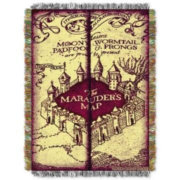 Warner Brothers Harry Potter Marauders Map Triple Woven Tapestry Throw
