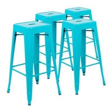 Flash Furniture 30-Inch Stackable Metal Bar Stools in Teal (Set of 4)