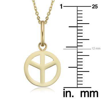 Fremada 14k Gold Peace Sign Necklace