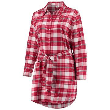 Women's ZooZatz Crimson Oklahoma Sooners Plus Size Warmup Flannel Button-Up Dress