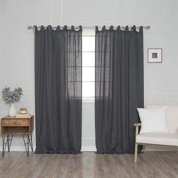 Aurora Home French Linen Romantic Tie Top Sinlge Curtain Panel