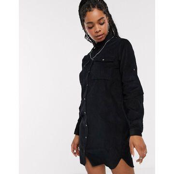 Noisy May oversized cord shirt mini dress in black