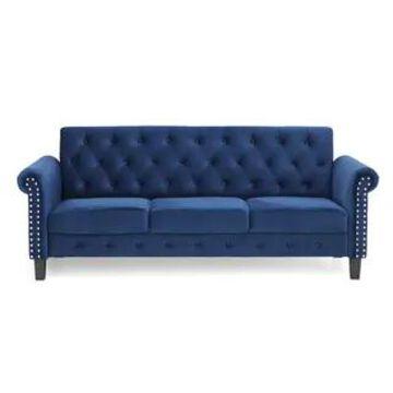 Furinno Bastia Vintage Button Tufted 3-Seater Sofa (Navy Velvet)