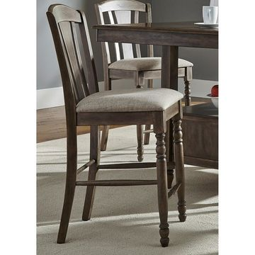 Candlewood Weather Grey Slat Back Counter Height Barstool (Set of 2)