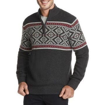 Izod Men's Fair Isle Quarter-Zip Sweater - -