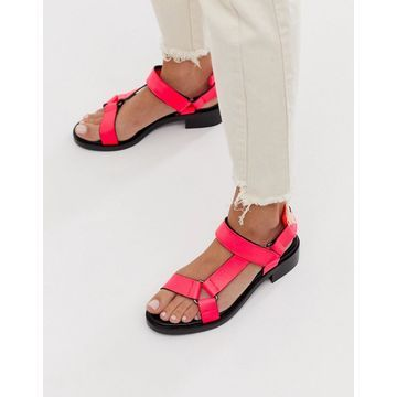 ASOS WHITE Bluebell leather sporty sandals in neon pink