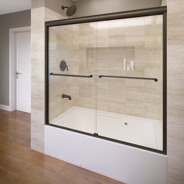 Basco Celesta 58.25-in H x 56-in to 60-in W Semi-Frameless Bypass/Sliding Oil-Rubbed Bronze Bathtub Door (Clear Glass)