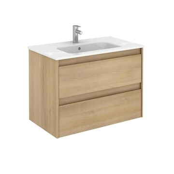WS Bath Collections Ambra 32-in Nordic Oak Single Sink Bathroom Vanity with Ceramic White Ceramic Top in Brown   AMBRA 80 NO