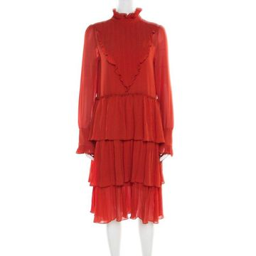 See By Chloe Earthy Red Ruffled Tiered Long Sleeve Dress M