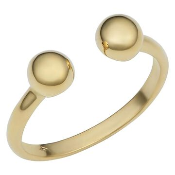 Fremada Italian 14k Yellow Gold Double Bead Open Ring