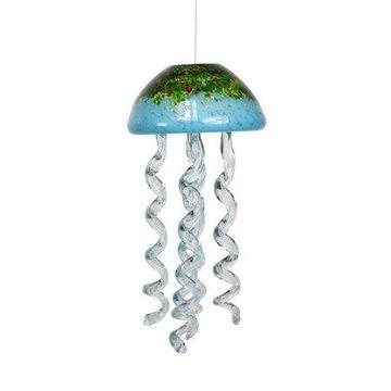 Alpine Turquoise Glass Hanging Jellyfish Windchimes, 12 Inch Tall
