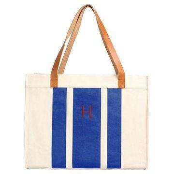 Cathy's Concepts Women's Monogram Tote Handbag - Blue Stripe H