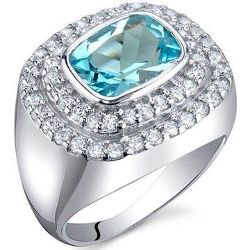 2.25 Carat T.G.W. Swiss Blue Topaz Rhodium-Plated Sterling Silver Engagement Ring