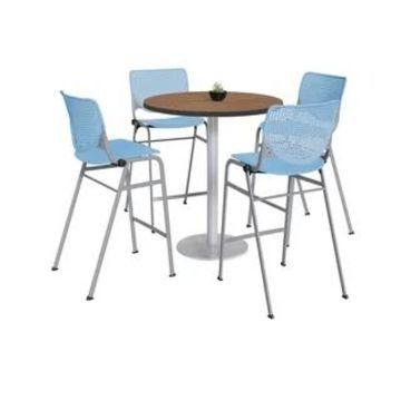 KFI Mode Bistro Table Set, River Cherry Top, 4 Kool Stools (Sky Blue)