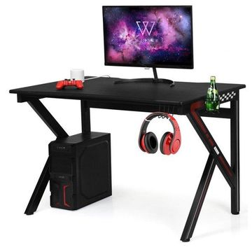 Costway Gaming Desk Computer Table E-Sports K-Shaped W/ Cup Holder Hook New