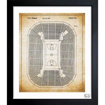 Oliver Gal 'Basketball Court 1999' Framed Blueprint Art