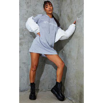 PrettyLittleThingGrey Shoulder Pad Sweater Dress