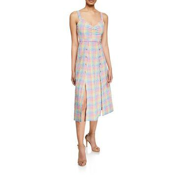 Anya Sleeveless Gingham Cutaway Midi Dress
