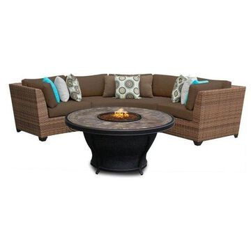 TK Classics Laguna 4-Piece Outdoor Wicker Sofa Set, Cocoa