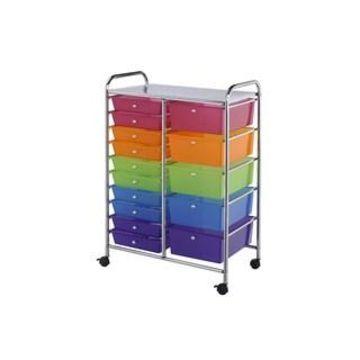 Darice Rolling Craft Storage Cart, 15 Drawers