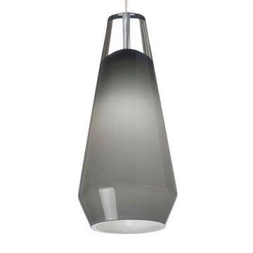 Lustra Chrome One-Light Mini Pendant with Smoke Shade and Chrome Stem