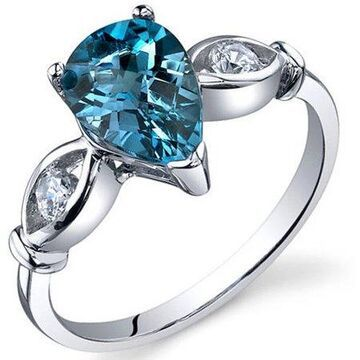 1.50 Carat T.G.W. London Blue Topaz Rhodium-Plated Sterling Silver Engagement Ring